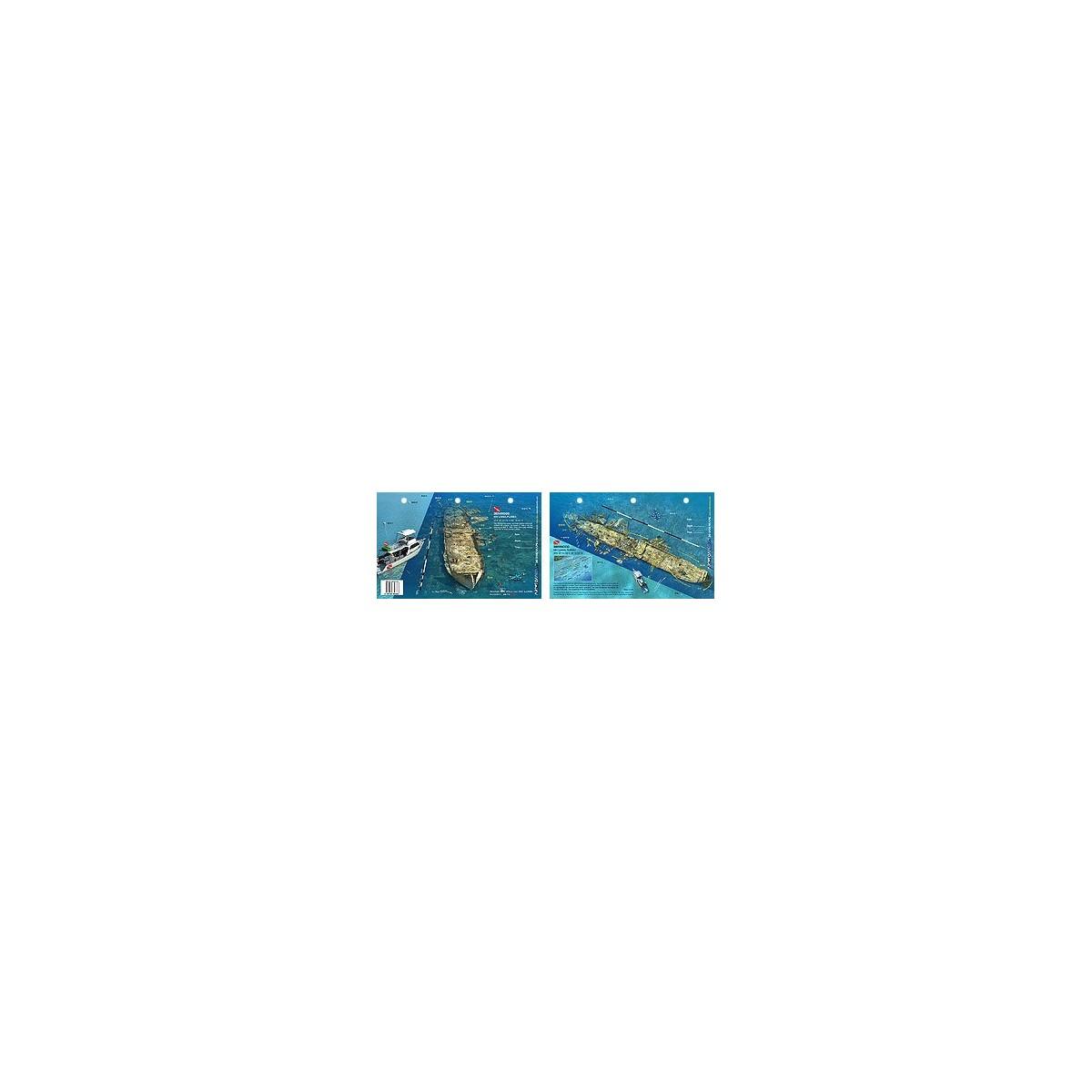 Benwood in Key Largo, Florida (8.5 x 5.5 Inches) (21.6 x 15cm) - New Art to Media Underwater Waterproof 3D Dive Site Map