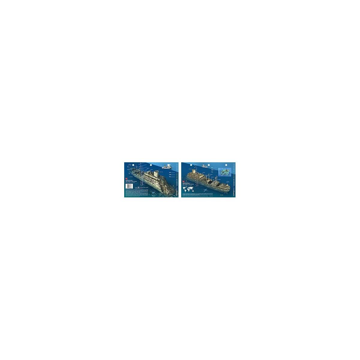 Aikoku Maru in Truk Lagoon, Micronesia (8.5 x 5.5 Inches) (21.6 x 15cm) - New Art to Media Underwater Waterproof 3D Dive Site Ma