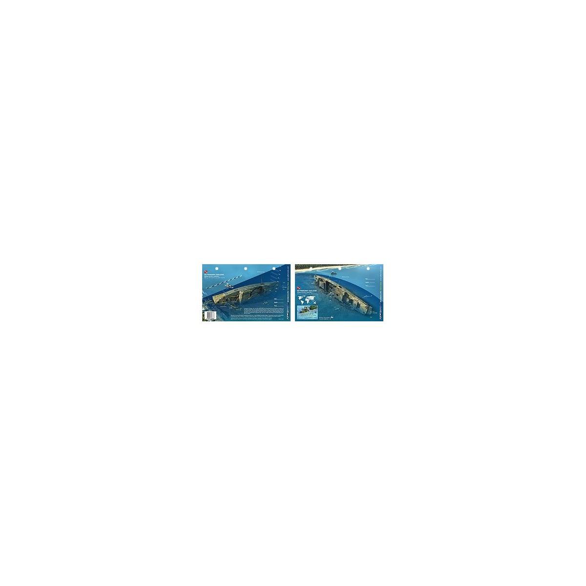 SS President Coolidge in Vanuatu (8.5 x 5.5 Inches) (21.6 x 15cm) - New Art to Media Underwater Waterproof 3D Dive Site Map